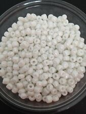 50g glass seed beads - White Opaque Lustered - approx 4mm (size 6/0) craft
