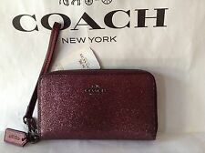 NWT. Coach Glitter Double Zip Wallet / Wristlet / Phone Metallic Cherry F53646