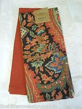 APRIL CORNELL~KITCHEN TEA TOWELS~SET OF TWO(2)~AUTUMN PAISLEY~BLACK,ORANGE~NWT!