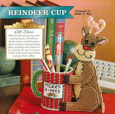 REINDEER CUP CHRISTMAS PLASTIC CANVAS PATTERN INSTRUCTIONS