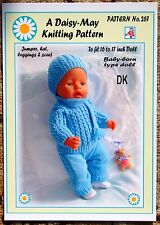 "NEW DOLLS KNITTING PATTERN 16""-18""inch BABYBORN type doll.by Daisy-May.no 267"