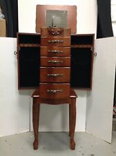 Powell Standing Wood Jewelry Box Storage Chest Cabinet Bin Armoire Queen Anne