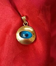 14k yellow gold evil eye disk pendant charm