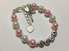 Girls pink Tinkerbell fairy personalised bracelet - any name - party bag filler.