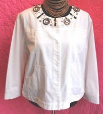 EMMA White Stretch Cotton Jacket Sz 10 Wooden Bead Scoop Neckl 3/4 Sleeve Trendy