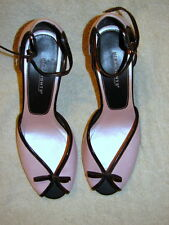 "Vtg. Women's Shoes sz.7-1/2 Pink & Black Peep toe/Ankle strap 3-1/2"" Heel"