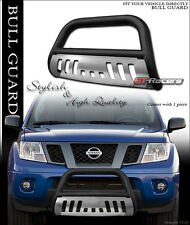 FOR 2005-2011 FRONTIER/XTERRA MATTE BLACK BULL BAR BRUSH BUMPER GRILL GUARD+SKID