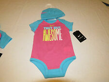 Nike 3-6 Months baby girls 2 piece beanie bodysuit 063065-aa7 pinksicle NWT^^