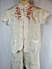 Vintage Asian Oriental Traditional Culture Chinese Pant Suit Fung Fu Costume M