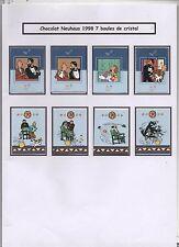Tintin. série complète des 8 emballages CHOCOLAT NEUHAUS. 7 Boules de Cristal.