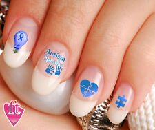 Autism Awareness Light it up Blue Nail Art Decal Sticker Set AUT903