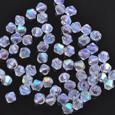 Hot! 50/100Pcs Faceted Glass Crystal Oval Solid Bicone Spacer Beads Finding 6mm