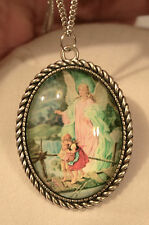 Rope Rim Silvertn Guardian Angel Children On Bridge Cameo Medal Pendant Necklace