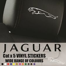 JAGUAR HEADREST DECALS - Vinyl Stickers - Jaguar cat  Graphics Logo badge x6