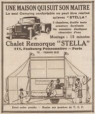 Z8156 Chalet Remorque STELLA - Pubblicità d'epoca - 1930 Old advertising
