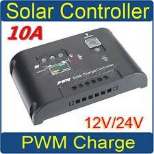 10A 12V-24V LCD PWM Power Regulator Solar Panel Charge Controller Auto Switch HK