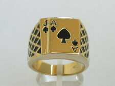 17x15 mm No Stone Black Enamel Casino Las Vegas Ace Spades Men Poker Ring Size 8