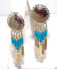 Native American Handmade Blue Turquoise Bead Dangle Chandelier Concho Earrings