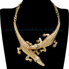 "Wild Life Gold Plated 16"" + 2"" Chain, 7"" Gold Plated Crocodiles, Necklace"