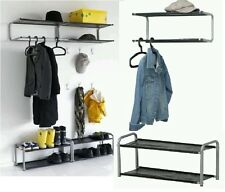 MULTI USES SHOE RACK COAT RACK WALL MOUNTED FREE STAND SHOES ORGANISER