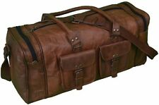 "New 24"" Genuine Leather Large Vintage Duffle Travel Gym Weekend Overnight Bag"