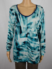 Calvin Klein Jeans Womens Blue V-Neck Long Sleeve Printed Blouse Top L