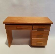 Vintage Handmade Dollhouse Miniature Maple Wood Desk Office Furniture 1:12