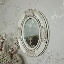 Ornate cream oval wall mirror shabby vintage chic bedroom bathroom hallway home