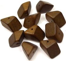 24x14mm Hedron Geometric Wood Polyhedron Figure Solid  Beads (10) - Brown Bear