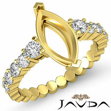 Diamond Engagement Marquise Semi Mount Shared Prong Ring 18k Yellow Gold 0.70Ct