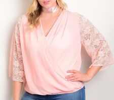 Size 3XL 3X SHIRT TOP Womens Plus PEACH 3/4 Sleeve KNIT LACE ARMS Angela USA NEW