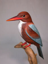 "11-1/2""White-throated Kingfisher Bird Carving/Birdhug"