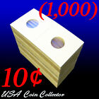 (1000) Dime Size 2x2 Mylar Cardboard Coin Flips for Storage | Holder - 10 Cents