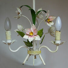 VINTAGE SHABBY CHIC FLOWERS ITALIAN TOLE CEILING LIGHT CHANDELIER
