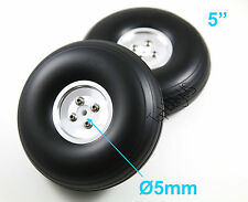 "1 Pair of 5"" Light Weight RC Plane PU Wheels, Aluminum Alloy Hub, US 006-04015"