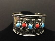 Vintage Silver-Tone and Glass Cuff Bracelet