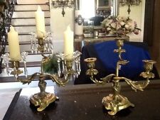 Pair Of Antique Brass Candelabra