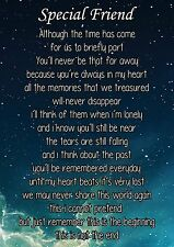 Special Friend Graveside Poem Memorial Keepsake Card with Free Ground Stake F13