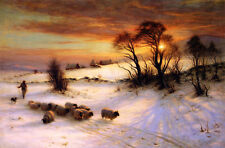 Joseph Farquharson HERDING SHEEP IN A WINTER LANDSCAPE Oil Painting repro