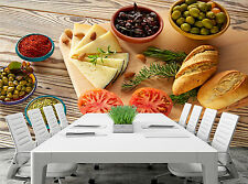 Food- Bread,Olives,Cheese Wall Mural Photo Wallpaper GIANT WALL DECOR FREE GLUE