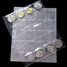 1 Sheet 20 Pockets Plastic Coin Holders Storage Collection Money Album Case EF
