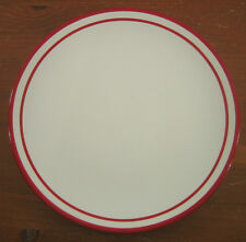 Dansk Circa Red 1 Dinner Plate White Bands Vintage Hand Painted Micro Dish Safe
