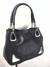 PIERRE CARDIN  Auth Genuine Black Leather Purse Satchel Shoulder Bag NWOT RARE