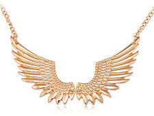 Phoenix Wings In Flight Along A Single Golden Toned Chain Necklace & Closure
