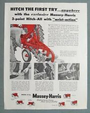 1955 Tractor Ad HITCH FIRST TIME 3 POINT HITCH-ALL MAKE IT A MASSEY HARRIS