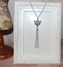 Vintage/flapper/Gatsby/1920's silver plate necklace with rhinestone fox & tassel