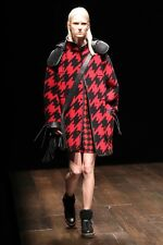 Coach 1941 Womens Black Red Houndstooth Wool Leather Hood Parka Jacket Coat M