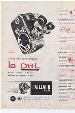 PUBLICITE ADVERTISING 104 1960 PAILLARD BOLEX la DL8 caméra 8 mm
