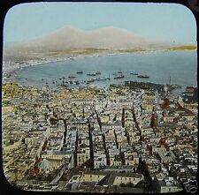 HAND COLOURED Glass Magic Lantern Slide BAY OF NAPLES C1890 ITALY PHOTO NAPOLI