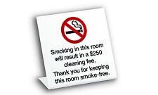 No Smoking In Room Signs w/fee, Plastic, 10 Pack, Free Shipping